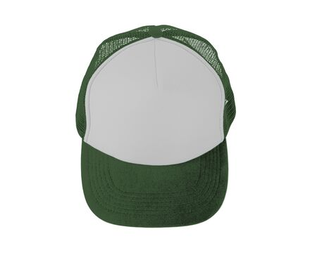 Make your design work becomes more practical with this Front View Realistic Cap Mock Up In Green Kale Color Stock Photo