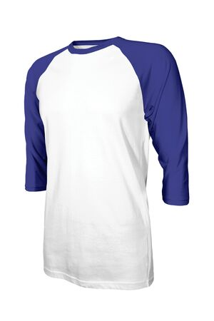 This Angled Front Three Quarter Sleeves Baseball Tshirt Mock Up In Royal Blue Arms Color Customizable For All Your Designs Style