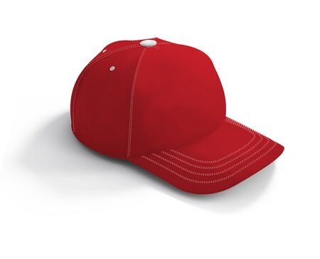 A high resolution Football Cap Mockup In Flame Scarlet Color to help you present your cap designs beautifully.