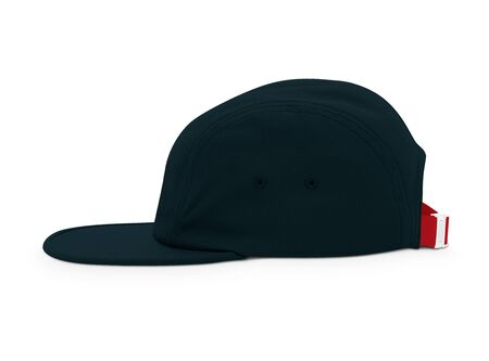 A modern Side View Cool Guy Cap Mock Up In Royal Black Color template to make your work more faster. Stock Photo