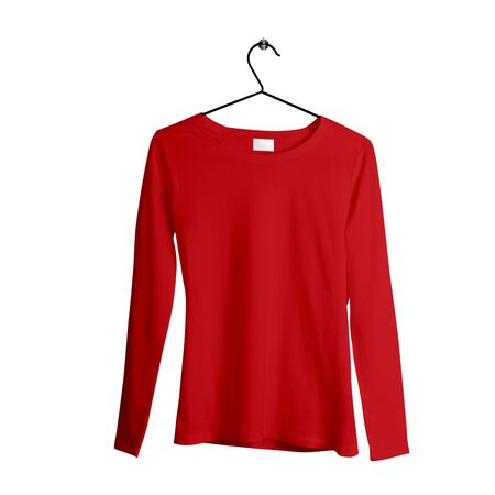 This awesome Front View Female Tshirt Mock Up With Hanger In Flame Scarlet Color is ready to use for showcasing your brand logo.