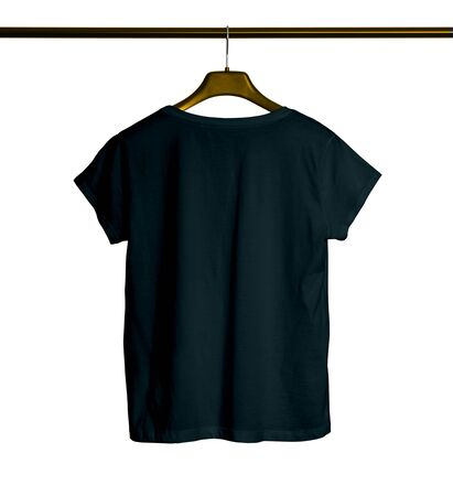 Showcase your awesome design or logo with this Back View Short Sleeves Female TShirt Mock Up With Hanger In Royal Black Color. Archivio Fotografico