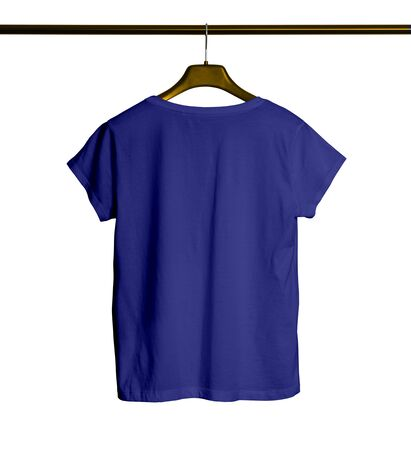 Showcase your awesome design or logo with this Back View Short Sleeves Female TShirt Mock Up With Hanger In Royal Blue Color.