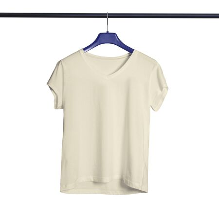 Get more beauty to your design by using this Short Sleeves V Neck Tshirt Mock Up For Female With Hanger In White Tofu Color. Archivio Fotografico
