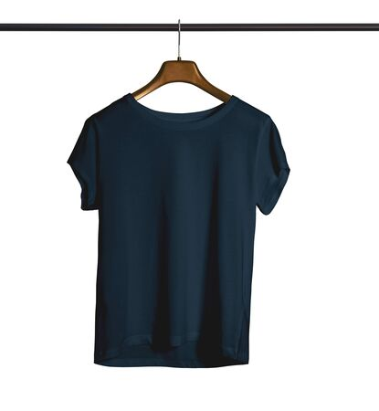 A modern Short Sleeves Crew Neck Tshirt Mock Up With Hanger For Woman In Royal Black Color to help you provide a beautiful design. Archivio Fotografico