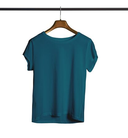A modern Short Sleeves Crew Neck Tshirt Mock Up With Hanger For Woman In Green Eden Color to help you provide a beautiful design.