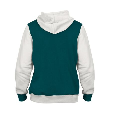 Get this Back View Pulls Over Hoodie Mock Up in Green Eden Color to complete your design process.. Archivio Fotografico