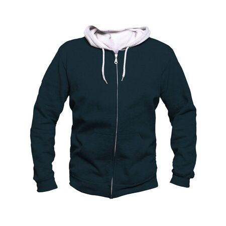 Make your awesome design or logo more artistic with this Front View Men Hoodies Mock Up In Royal Black Color.