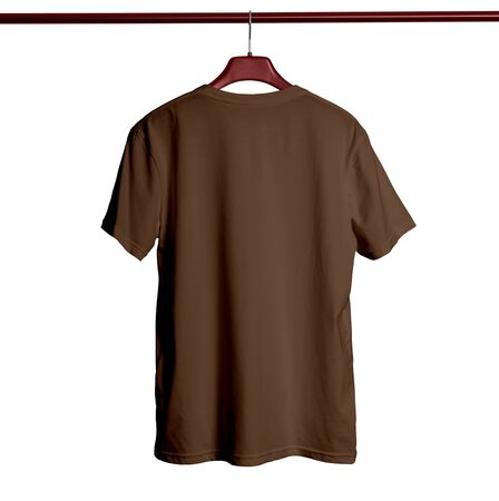 Paste your logo or design to this Back View Short Sleeves Male TShirt Mock Up With Hanger In Royal Brown Color and everything looks beautiful