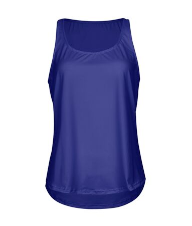 Make your artwork faster and more beautiful with this Front View Women Tank Top With Round Bottom Mock Up In Royal Blue Color.