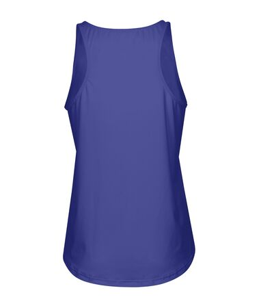 Add your logo or design to this Back View Women Tank Top With Round Bottom Mock Up In Royal Blue Color, it will become more real. Archivio Fotografico