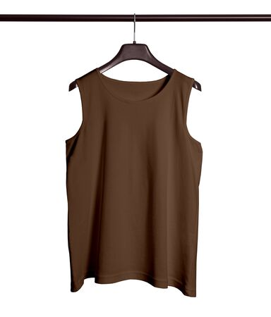 You do not need to be a designer if you use this Front View Men Tank Top Mock Up With Hanger In Royal Brown Color. 写真素材