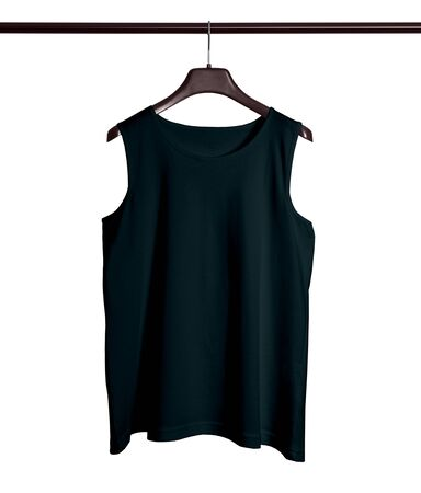 You do not need to be a designer if you use this Front View Men Tank Top Mock Up With Hanger In Royal Black Color. 写真素材