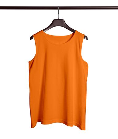 You do not need to be a designer if you use this Front View Men Tank Top Mock Up With Hanger In Turmeric Powder Color. Archivio Fotografico