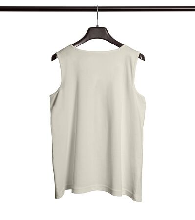 You can make your logo design more beautiful with this Back View Men Tank Top Mock Up With Hanger In White Tofu Color.