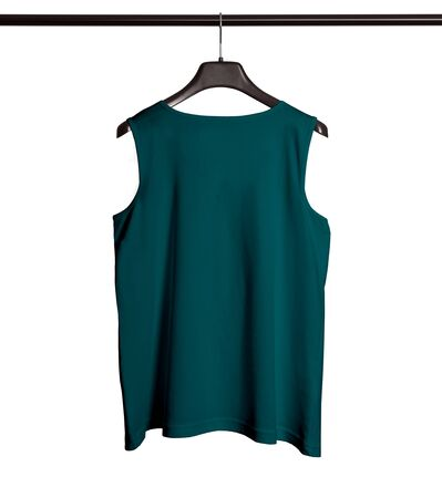 You can make your logo design more beautiful with this Back View Men Tank Top Mock Up With Hanger In Green Eden Color.