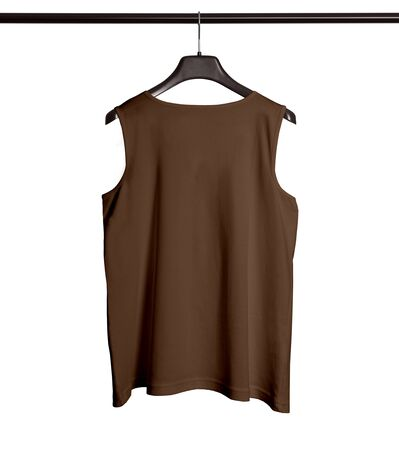 You can make your logo design more beautiful with this Back View Men Tank Top Mock Up With Hanger In Royal Brown Color.