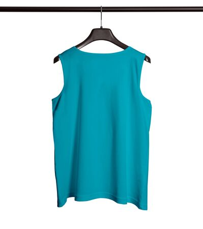 You can make your logo design more beautiful with this Back View Men Tank Top Mock Up With Hanger In Scuba Blue Color.