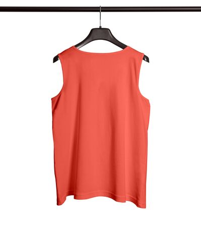 You can make your logo design more beautiful with this Back View Men Tank Top Mock Up With Hanger In Living Coral Color. Foto de archivo