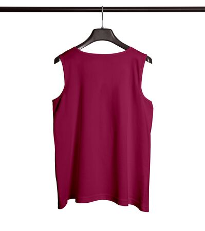 You can make your logo design more beautiful with this Back View Men Tank Top Mock Up With Hanger In Dark Sangria Color.
