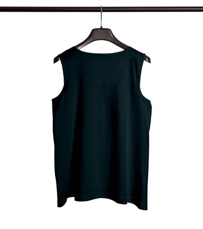 You can make your logo design more beautiful with this Back View Men Tank Top Mock Up With Hanger In Royal Black Color. Foto de archivo