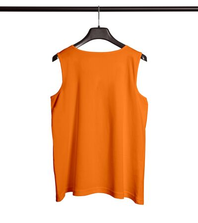 You can make your logo design more beautiful with this Back View Men Tank Top Mock Up With Hanger In Turmeric Powder Color. Foto de archivo
