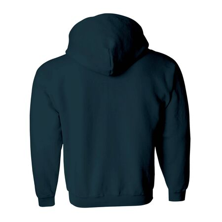 Promote your hoodie design across with this Back View Zip Up Hoodie Mockup In Royal Black Color.