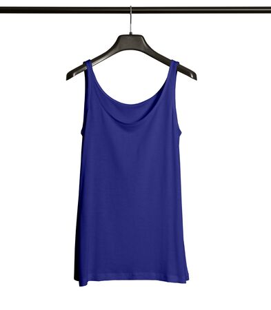 Pasting your graphic to this Front View Women Tank Top Mock Up With Hanger In Royal Blue Color and everything will be done. 版權商用圖片
