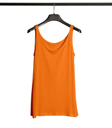 Pasting your graphic to this Front View Women Tank Top Mock Up With Hanger In Turmeric Powder Color and everything will be done.