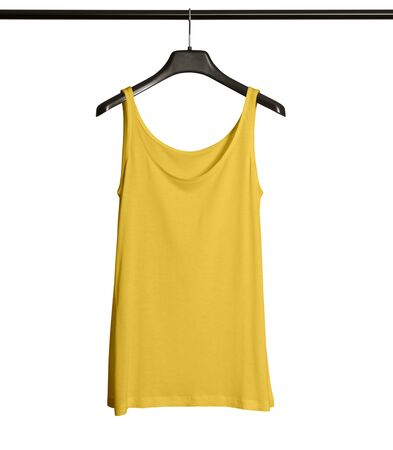 Pasting your graphic to this Front View Women Tank Top Mock Up With Hanger In Prime Rose Color and everything will be done.