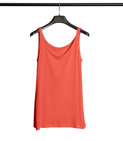 Pasting your graphic to this Front View Women Tank Top Mock Up With Hanger In Living Coral Color and everything will be done.