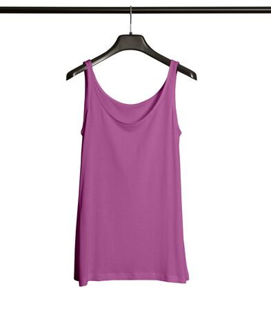 Pasting your graphic to this Front View Women Tank Top Mock Up With Hanger In Royal Lilac Color and everything will be done.