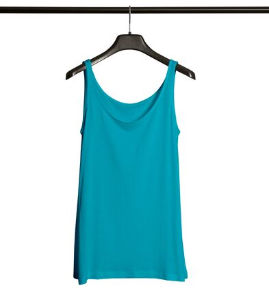 Pasting your graphic to this Front View Women Tank Top Mock Up With Hanger In Scuba Blue Color and everything will be done.