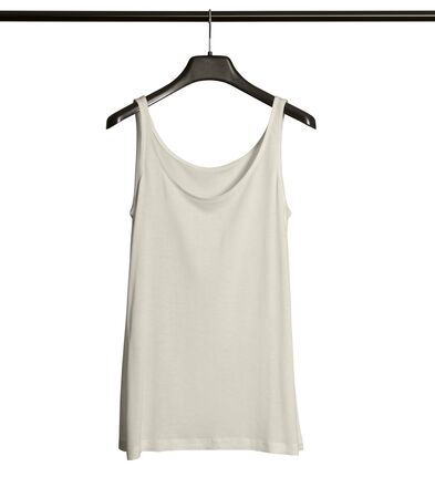 Pasting your graphic to this Front View Women Tank Top Mock Up With Hanger In White Tofu Color and everything will be done.