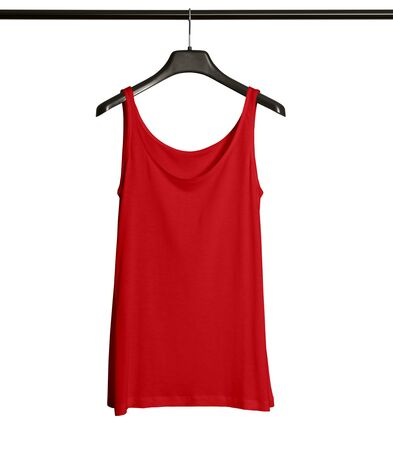Pasting your graphic to this Front View Women Tank Top Mock Up With Hanger In Flame Scarlet Color and everything will be done. 版權商用圖片