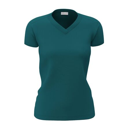 Make your design process easier with this Front View Womens V Neck T Shirts Mock Up In Green Eden Color.