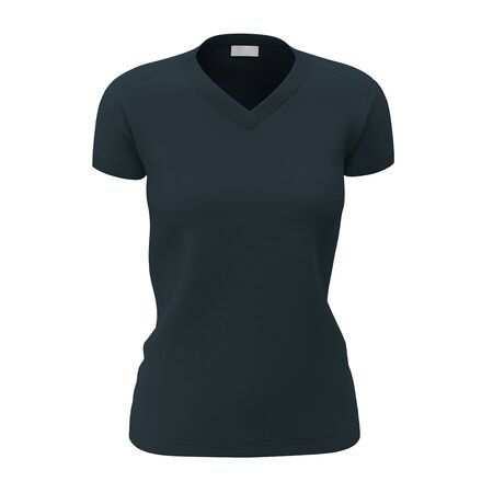 Make your design process easier with this Front View Womens V Neck T Shirts Mock Up In Royal Black Color.