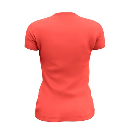 This Back View Womens V Neck T Shirts Mock Up In Living Coral Color was easy to use, just add your graph and everything is done.