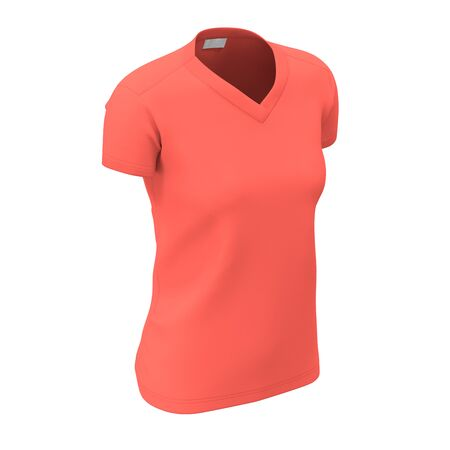 Promote your clothes with this Side View Womens V Neck T Shirts Mock Up In Living Coral Color and you will smile. Archivio Fotografico