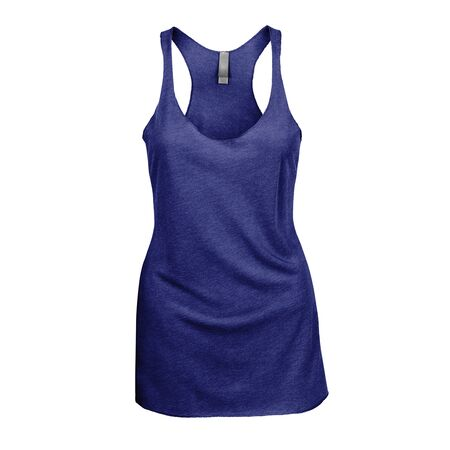 Promote your Tank Top design across with this Front View Triblend Raceback Tank Top In Royal Blue Color For Women. Stock Photo
