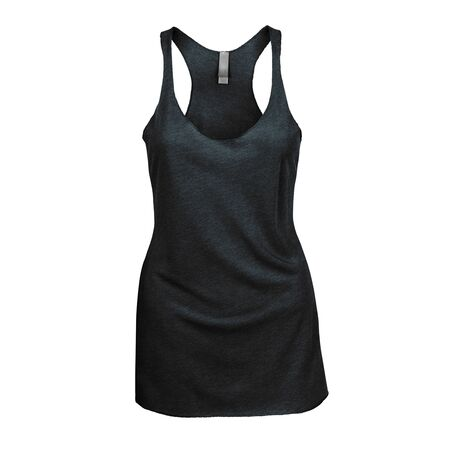 Promote your Tank Top design across with this Front View Triblend Raceback Tank Top In Royal Black Color For Women.