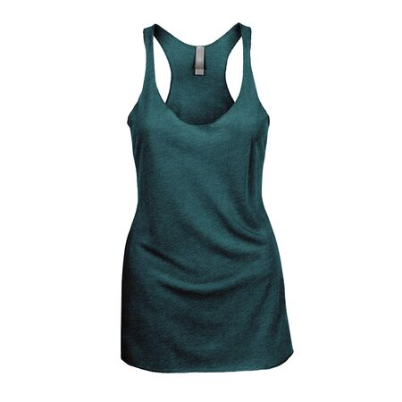 Promote your Tank Top design across with this Front View Triblend Raceback Tank Top In Green Eden Color For Women. Stock Photo