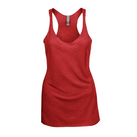 Promote your Tank Top design across with this Front View Triblend Raceback Tank Top In Flame Scarlet Color For Women.