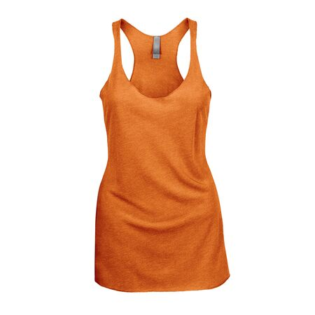 Promote your Tank Top design across with this Front View Triblend Raceback Tank Top In Turmeric Powder Color For Women.
