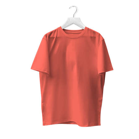 Blank T Shirt Mock Up In Living Coral Color With Hanger. Ready to replace with your design or product logo