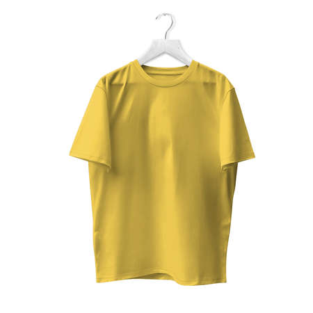 Blank T Shirt Mock Up In Prime Rose Color With Hanger. Ready to replace with your design or product logo