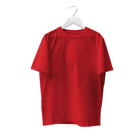 Blank T Shirt Mock Up In Flame Scarlet Color With Hanger. Ready to replace with your design or product logo Stock Photo