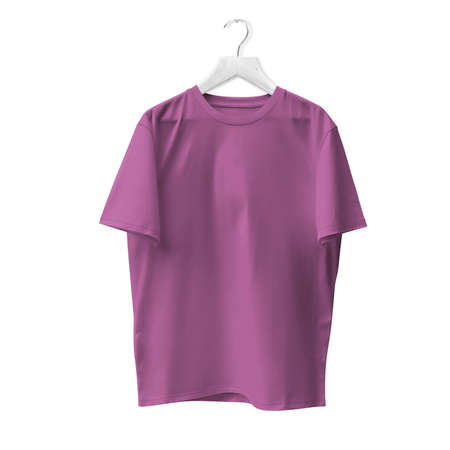 Blank T Shirt Mock Up In Royal Lilac Color With Hanger. Ready to replace with your design or product logo Stock Photo