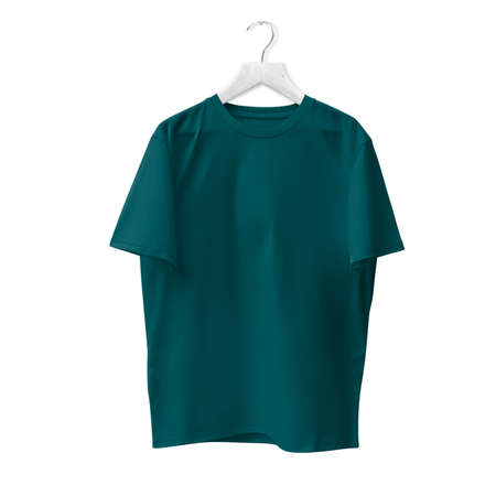 Blank T Shirt Mock Up In Green Eden Color With Hanger. Ready to replace with your design or product logo