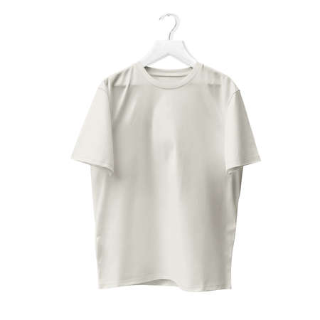 Blank T Shirt Mock Up In White Tofu Color With Hanger. Ready to replace with your design or product logo
